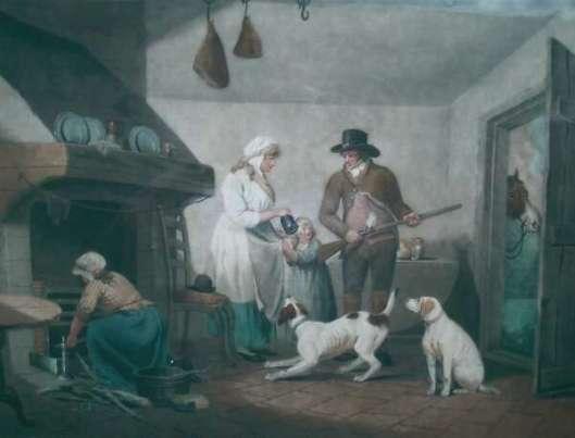 Ylänkömaiden arjen kuvaajana tunnetun George Morlandin maalaus näyttää syrjäseudun kievarin, minne metsästäjä on poikennut ajokoiriensa kanssa. Morland maalasi enimmän tuotantonsa 1700-luvulla.