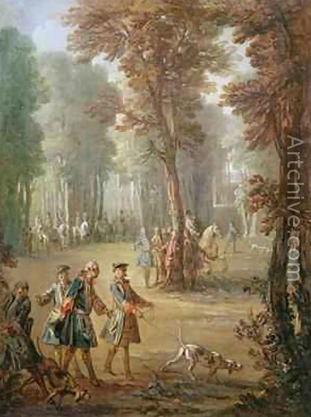 J. B. Oudry: Ranskan kuningas Louis XV ja vihikoiransa Puys'n puistossa. Malli kuvakudosta varten vuodelta 1738.