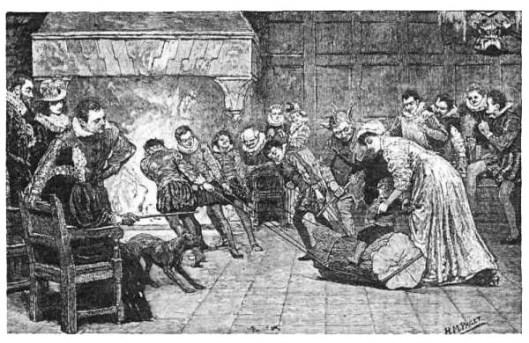 Jouluhalon, eli paksun tammen rungon tuominen sisään on juhlava tapahtuma sekin. Tapa on säilynyt Englannissa nykyaikaan. Missä ei ole takkaa, jouluhalko leivotaan. Kuvassa esitellään 1800 -luvun jälkipuoliskon joulunviettoa. Kuva on englantilaisen Henry Marriot Paget'n (1856 - 1936) käsialaa.