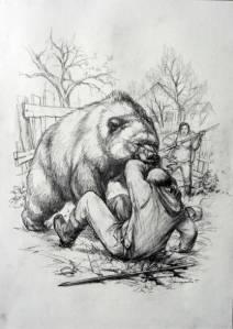Karhu puree ihmistä - Male bear biting a man