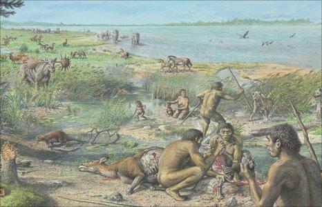 Luoteis-Euroopan rannikkoa-aluetta noin miljoona vuotta sitten. Luolahyeena uhkaa. Lähde: BBC.