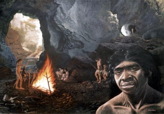 Homo erectus, fossiililöytö Pekinginmies. Piirtänyt: Giovanni Caselli.