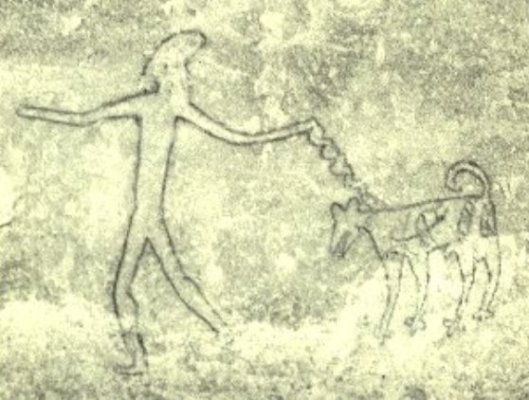 Bhimabetaka cave drawining a dog on the leash