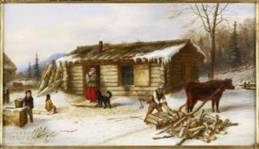 Chopping_Logs_Outside_a_Snow_Covered_Log_Cabin